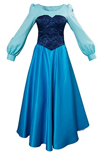 Kleine Meerjungfrau Prinzessin Kleid Little Mermaid Ariel Princess Dress Cosplay Kostüm Damen L (Ariel Prinzessin Kleid Kostüme)