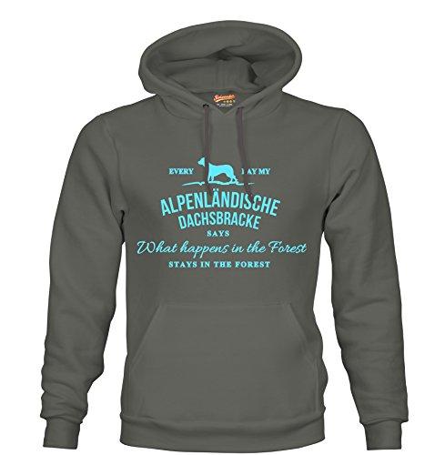 VINTAGE What happen Logo ALPENLÄNDISCHE DACHSBRACKE Bracke Hund Hunde Jagd Jäger - Unisex Hoodie Kapuzensweatshirt Pullover Fun Siviwonder dark grey 3XL - Dachs Hoody
