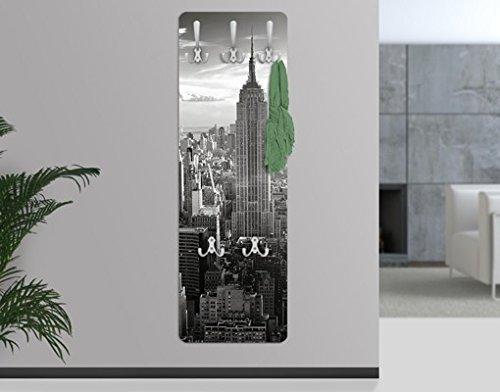 WandTattoo 67519 Manhattan Skyline - Perchero (madera de fibra vulcanizada de densidad media), diseño de la silueta de los edificios de Manhattan