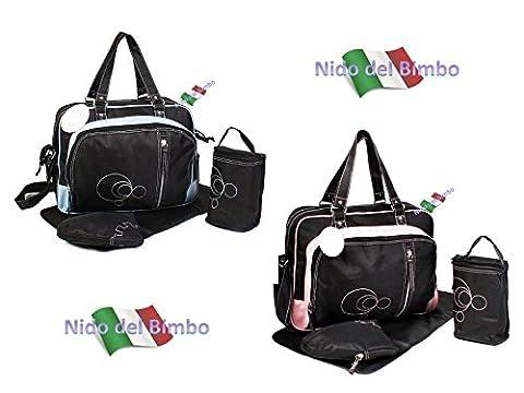 Nido del BimboKit sac à langer de 4 pièces: sac + matelas à langer + porte-biberon + crochets pour poussette (accessoires isothermes)
