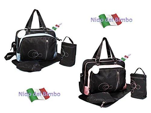 Preisvergleich Produktbild Nido del Bimbo Taschenset 4-teilig, Wickeltasche, Wickelunterlage, Flaschenhalter und Haken für Kinderwagen, Wärme-Zubehör ROSA