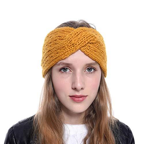 SANNYSIS Stirnband Damen Mädchen Winter Häkeln Stirnbänder Gestrickt Frühling Kopfband Haarband Elastische Blume Gedruckt mit Schleife, Stirnband, Headband Gelb
