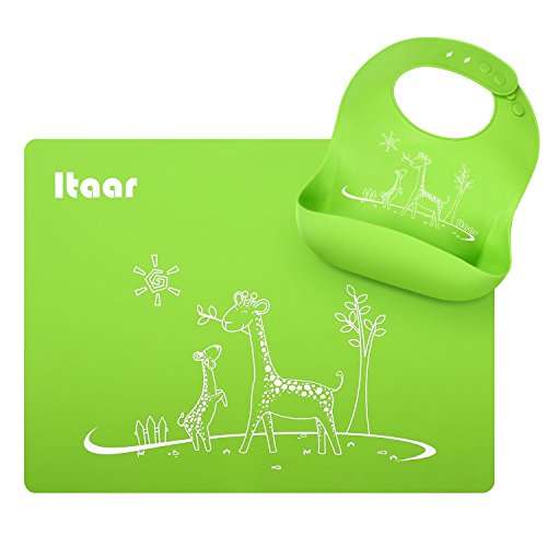 Itaar Bebé Babero de Silicona con Diseño de Animales para Comer y Juego de manteles individuales - Resistente al Agua Fácil Limpiar Reutilizable - para Bebés Verde