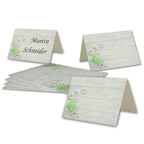 50 Tisch-Karten Margerite DIN A7 - Falt-Karten 7,4 x 10,5 cm bedruckbar - Namens-Kärtchen für Feste, Geburtstag, Hochzeit - von Ihrem Glüxx-Agent