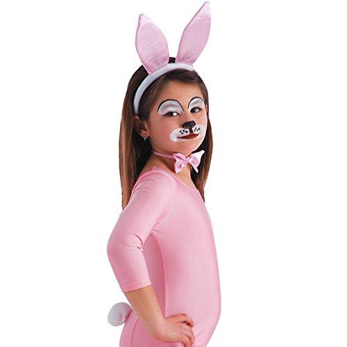 Carnival Toys 5167 - Set Hase, Ohren, Schwanz und Fliege, weiß/rosa