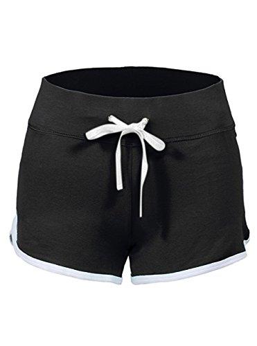 SWISSWELL Damen Sport Shorts Kurze Hosen Baumwolle Yoga Athletik Tanzen Shorts Fitness Hot Pants Hipster Workout, mit leichtem Figur formenden Effekt Schwarz M