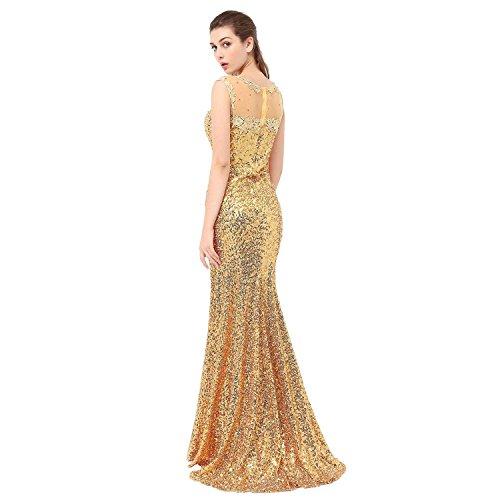 Aiyana Elegantes Meerjungfrau Ab-Schulter Spitze Abendkleid Langes Promkleider Brautjungfernkleid mit Pailletten Golden