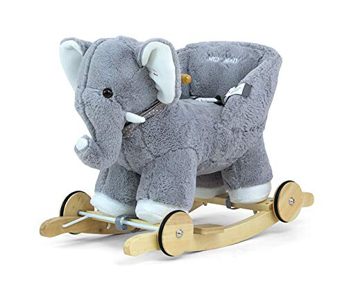 POLLY 2in1 Kuschelweich Schaukelpferd Plusch Schaukeltier Schaukelspielzeug in 9 Farben mit Soundeffekten für Kleinkinder (12 Monate+), Muster:Grey Elefant -