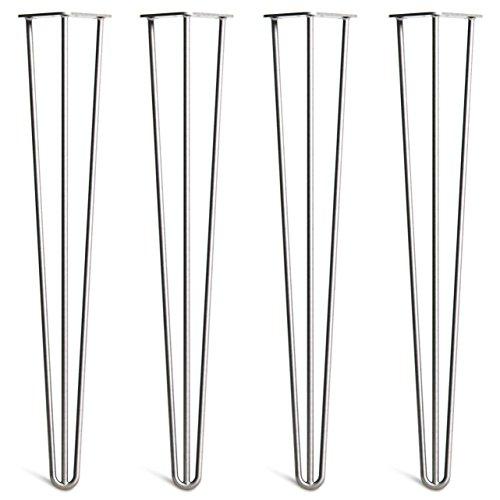 4 X Pieds de table en épingle à cheveux – Remplacement de table et pieds de meuble pour DIY et fabricants – style moderne du milieu du siècle – Construction en acier double soudage supérieur – Disponible de 10 cm à 86 cm de hauteur