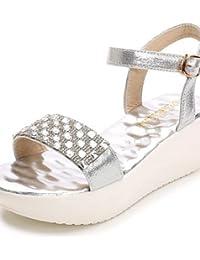 shangyi Zapatos de piel sintética Mujer plano tacón comodidad/chanclas Sandalias outddor/oficina/Vestido Negro/Marrón/Blanco negro negro Talla:us8.5 / eu39 / uk6.5 / cn40