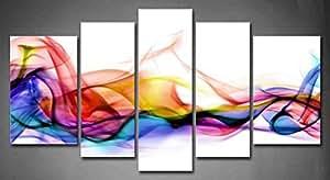 Fashion Style 5 Panneau mural Style moderne abstrait fumée Multicolore/fond blanc/peinture sur toile-Image Tableau pour la maison abstraite moderne Décoration (tendue Par un cadre en bois, prêts à poser)