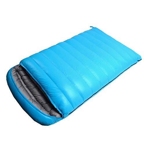 Schlafsack Jue Doppel Outdoor Ausrüstung Paar Modelle Wandern Camping ist warm im Winter Indoor Office Mittagspause im Freien Reiten A+ (Color : Blue)