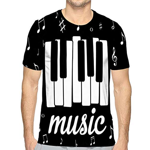Mens Short Sleeve Tee Quick-Dry Crewneck Athletic T-Shirts Music icon Piano Musical Notes eps Character -