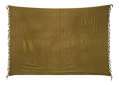 Sarong Pareo Wickelrock Strandtuch Tuch Wickeltuch Handtuch - Blickdicht - ca. 170cm x 110cm - Khaki Olive Einfarbig Handgefertigt inkl. Kokos Schnalle in Fischform