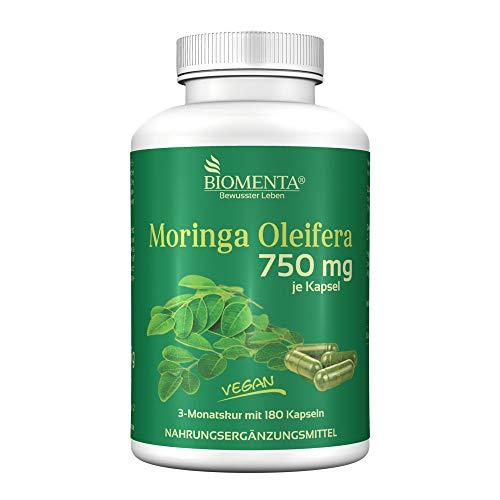 BIOMENTA MORINGA OLEIFERA Hochdosiert mit 750 mg je Kapsel, 180 Kapseln- 3 Monatskur, Vegan (Grüner Tee-öl-extrakt)