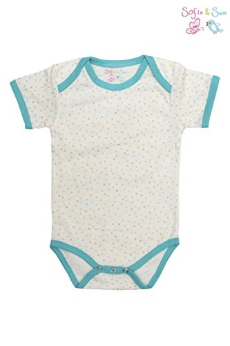 Sofie & Sam London, Baby Bodysuit Romper Onesie made from Organic Cotton, Pastel Polka Dots