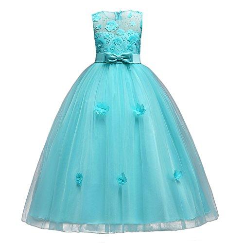 Vestito Principessa per Ragazza Elegante Floreale Fiore Pizzo Abiti da Sera  Matr 4f269b1a6e3