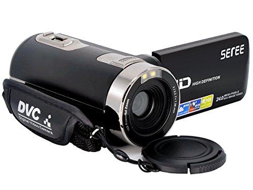 SEREE Camcorder Kamera HDV-301S FHD 1080P Digital-Video-Camcorder Weitwinkel-Makro Fisheye-Aufnahme 24MP 3-Zoll-Bildschirm Remote-Kamera (HDV-301S-FBM)