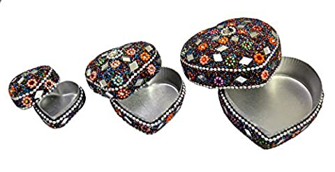 A Set of 3pcs Jewelry Boxes Home Decor Glitter Work,Beaded Decorative Jewellery Boxes (Multi)