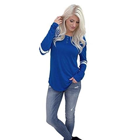 Tonsee® Femmes manches longues col rond Splice shirt Blouse Tops T-shirt (L, Bleu)