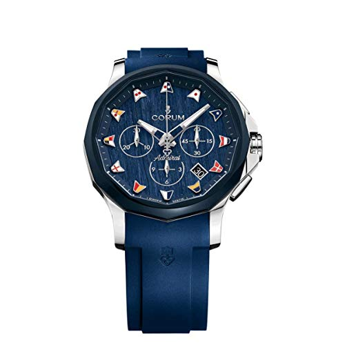 Corum Men's Admiral's Legend 42 42mm Blue Rubber Band Steel Case Automatic Watch 984.113.22/F373 WB12