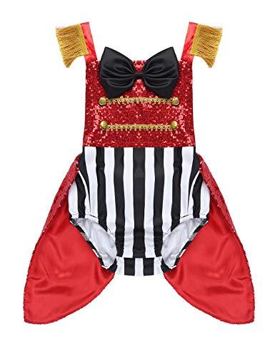 Kleinkind Zirkusdirektor Kostüm - YiZYiF Baby Mädchen Strampler Halloween Outfit Glitzer Pailletten Body Overalls Kleinkind Zirkusdirektor Cosplay Weihnachten Karneval Fasching Kostüm Rot 80-86