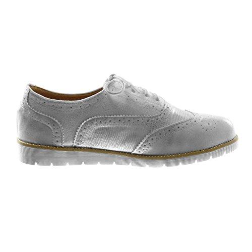 Chaussures Angkorly Fashion Derby Chaussure Bi-matière Sneaker Semelle Femme Perforé Brillant Crocodile Talon 2.5cm Blanc