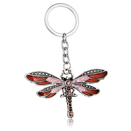 Kristall Libelle Anhänger Schlüsselanhänger, Auto-Tasche, hängende Ornamente Geschenke für Frauen Mädchen, rot, 8 * 6cm ()
