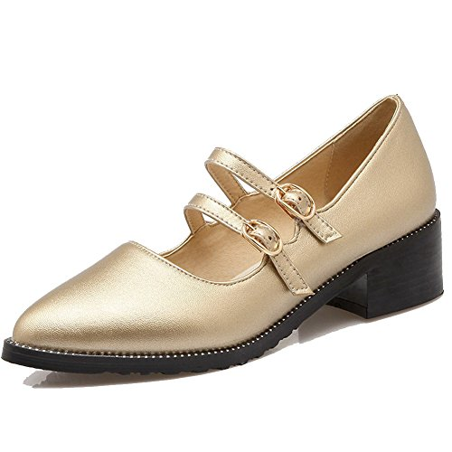 AllhqFashion Damen Rein Blend-Materialien Mittler Absatz Schnalle Spitz Zehe Pumps Schuhe Golden