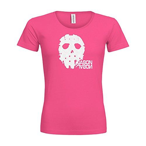 -Shirt Comfort Jason 20drpt15-wtc00172-119 Textil Fuchsia/Motiv Glitterweiss/Gr. L (Womens Jason Kostüme)
