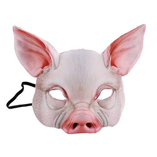 De Alf Kostüm - Renendi Halloween Requisiten Alf Tier Schwein Gesichtsmaske mit Ohren Maskerade Cosplay Party Bars Kostüm Erwachsene Dekoration weiß