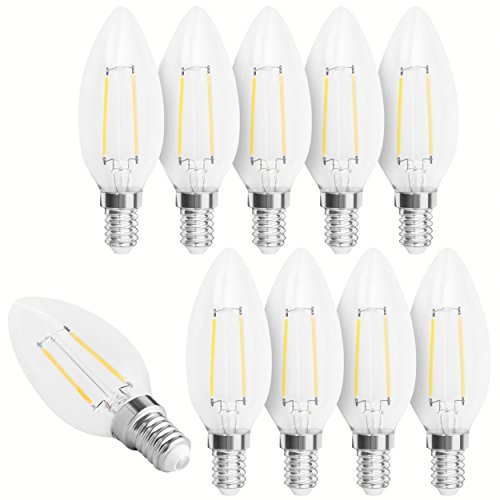 10x mumbi XQ-Lite LED-Kerze E14 2W / 2700 Kelvin / warmweiß / 200 Lumen / Energieklasse A++ (ersetzt E14 20 Watt Kerze)