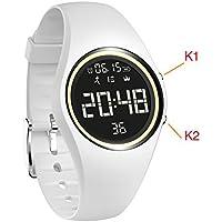 Contatore di calorie, IP68,orologio Activity Tracker impermeabile con contapassi per monitorare accuratamente passi / distanza / calorie, orologio / timer per camminata e corsa, per adulti e bambini, unisex, non necessita di Bluetooth., White