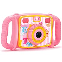 DROGRACE 1080P HD Kids Digital Photo/Video Camera with 4X Zoom, Flash Lights, 2 inch LCD and Shockproof Handles - Pink