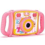 DROGRACE KD300, Fotocamera digitale per bambini con zoom 4x, 1080p HD, flash LED, LCD da 5,1cm, Rosa