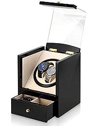 Caja giratoria para Relojes automatico Watch Winder Madera para 2 Relojes de Pulsera y 2 Caja de Almacenamiento