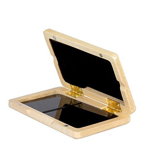 ammoon Reed Case Klarinette Saxophone Massivholz Reed Fall Holz Halter Box für Tenor/Alt/Sopran Saxophon Klarinette Blätter, 2 stücke Kapazität Holzfarbe Walnuss