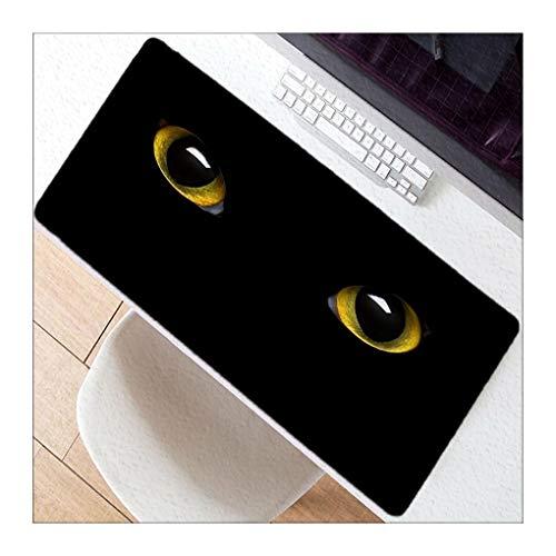 JUNHONZGHANG Ojos De Gato Negro Animal-Cojín De Ratón De Gran Tamaño Antideslizante Del Cojín De Ratón Adecuado Para Los Cafés De Internet Del Ministerio Del Interior,40X80Cm