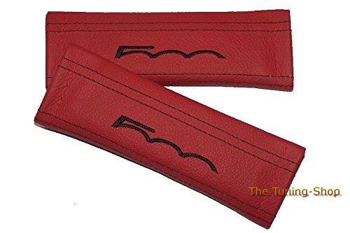 2x Sicherheitsgurt Bezüge Pads rot Schultertasche Leder schwarz 500Edition