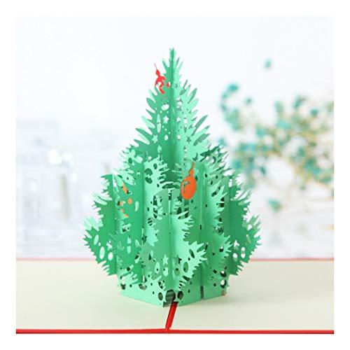 ZHOUBIN 2 fogli/set Carving And Hollowing Out 3D Cards/Greeting Cards/Regali di Natale Capodanno/Auguri di compleanno/Albero di Natale