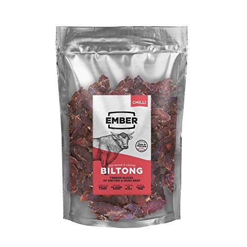 Ember Biltong Großpacksack - Beef Jerky Chilli - Proteinreicher Snack - Chili (1x500g)