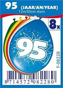 Folat 08228 - Globos de cumpleaños número 95 (30 cm, 8 unidades), varios colores