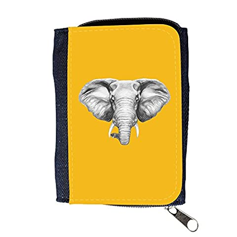 le portefeuille de grands luxe femmes avec beaucoup de compartiments // Q05130602 Dessin éléphant ambre // Purse Wallet