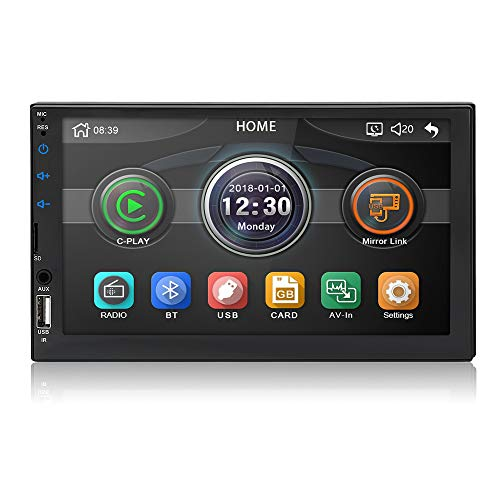 MiCarBa Doppel Din Auto Stereo Bluetooth Radio Video Player, 7 Zoll HD 1024 * 600 Touchscreen Auto Video Stereo, Auto MP5 Player Unterstützung FM Android Telefon Spiegel Link (CL7043)