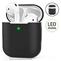 AhaStyle AirPods Case Cover Silicone [Front LED Visible & Supports Wireless Charging] Compatible with Apple Airpods 2&1(2019) (Without Hook, Black)