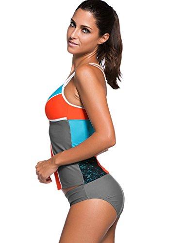 YOUJIA Damen Bademode 2pcs Bikini-Sets Triangel Tankini Badeanzüge Orange