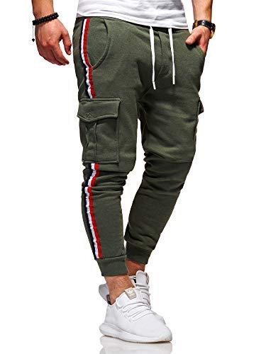 behype. Herren Lange Cargo Trainingshose Jogging-Hose Sport-Hose Stripe 60-8100 Khaki XL