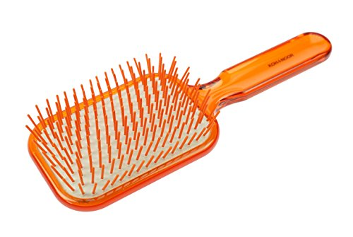 Fantasia Brosse à cheveux orange transparente avec 11 rangées de picots en plastique