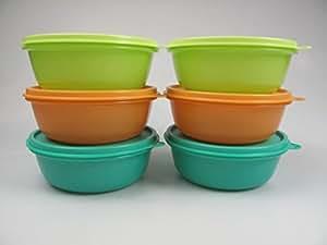 TUPPERWARE Raviers 600ml vert chaux (2) + orange (2) + vert turquoise (2) boîte