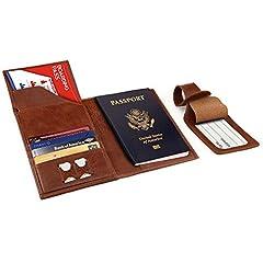 Idea Regalo - Otto Angelino Portafoglio Porta Passaporto in Vera Pelle - Anti RFID con Porta Carte e Targhette Bagagli (Marrone chiaro)